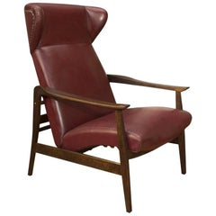 European Leather Adjustable Wingback Chair, 1940s