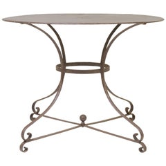 French Hammered Iron Guéridon Dining Table