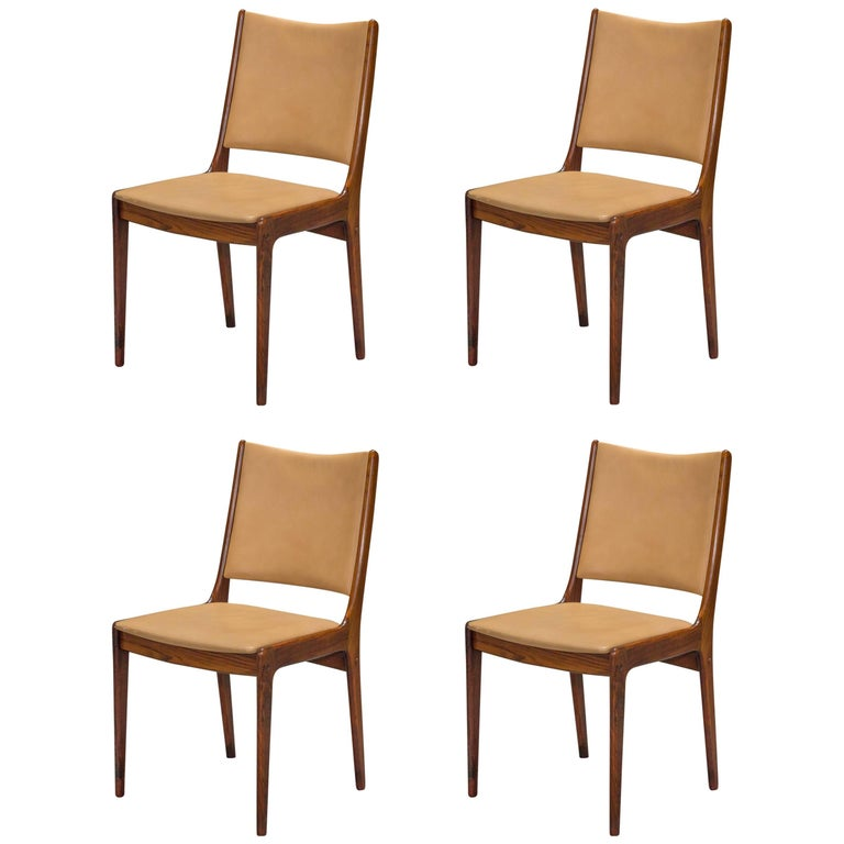 Set Of Four Danish Modern Rosewood And Leather Dining Chairs