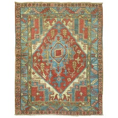 Antique Square Persian Heriz Rug
