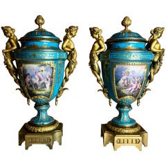 Antique Pair of Gilt Bronze-Mounted Sèvres Vase, French, circa 1870