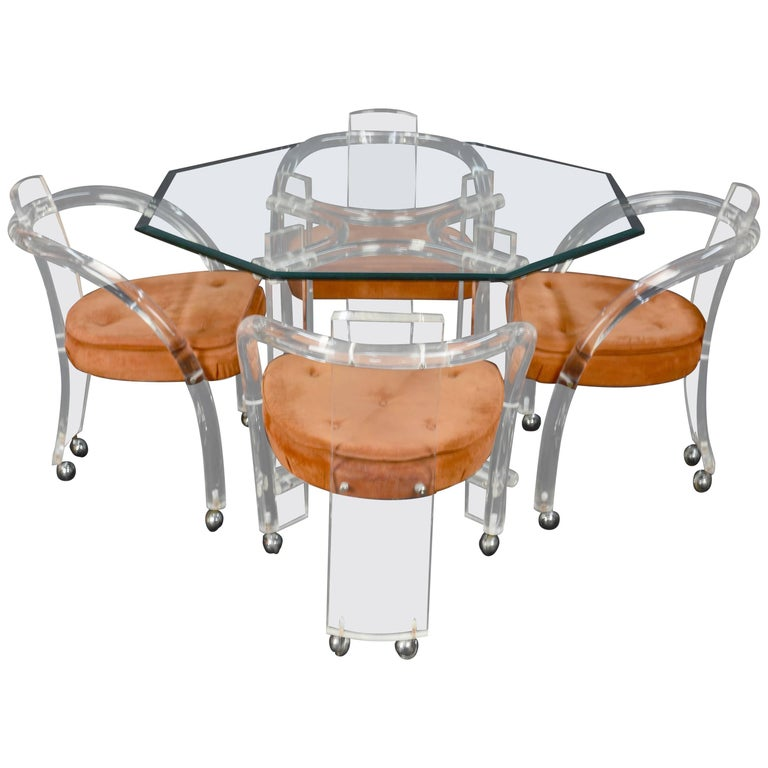 Lucite and Glass Dining Set after Charles Hollis Jones by Hill Furniture For Sale