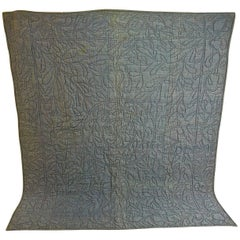 Early 19th Century French Blue Bourette Silk Quilt with Rustic Linen Reverse