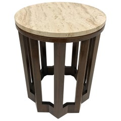 Harvey Probber Travertine and Walnut Side Table