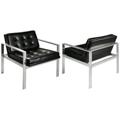 Harvey Probber Aluminum and Black Tufted Leather Armchairs, 1960s