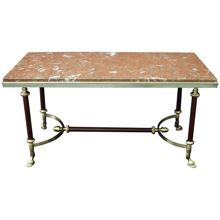 Maison Jansen Midcentury Brass and Marble Coffee Table