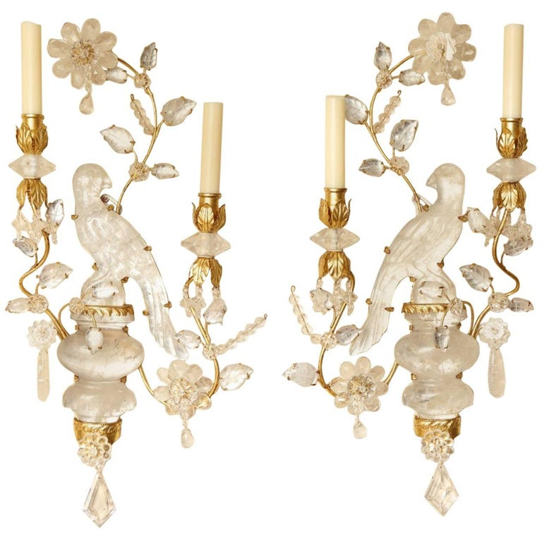 Pair of New Rock Crystal Two-Light Sconces