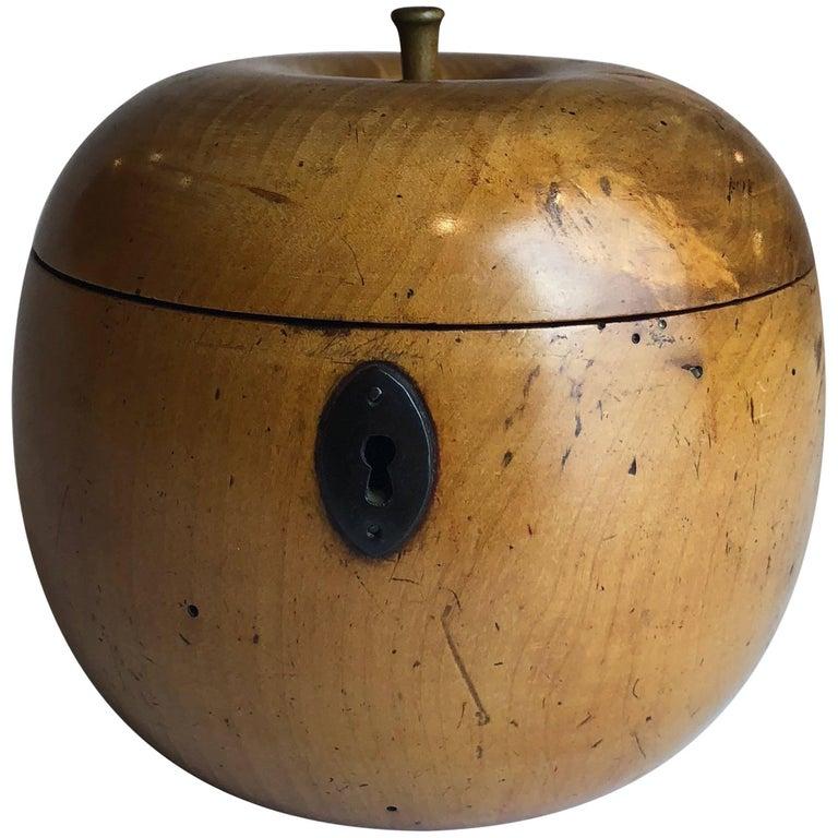 George III Apple Shaped Tea Caddy Treen, circa 1800