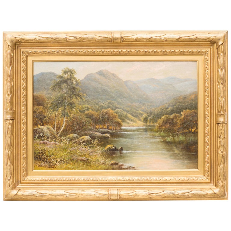 Mountain River Landscape, Oil on Canvas by Charles Leader