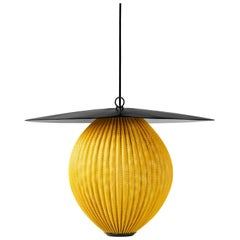 Large Mathieu Matégot 'Satellite' Pendant in Black and Yellow Metal
