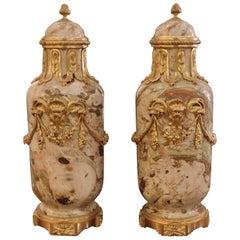Pair of Ormolu-Mounted Napoleon III Louis XVI Style Marble Cassolettes