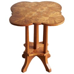 German Biedermeier Clover Top Parquetry Side Table with Starburst Pattern