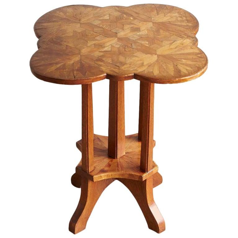 German Biedermeier Clover Top Parquetry Side Table with Starburst Pattern