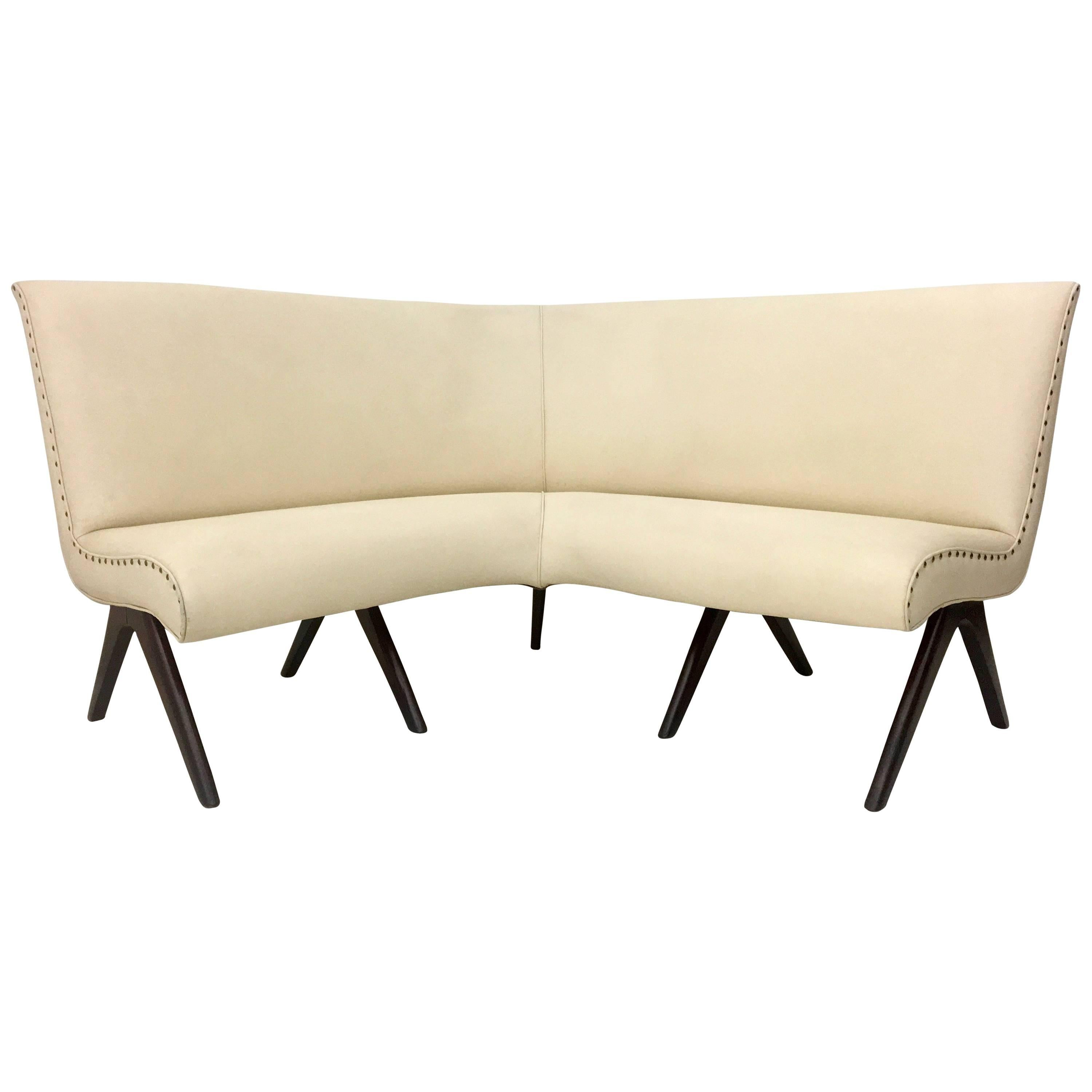 Ivory Skai And Wood Corner Sofa, Italy, 1950s For Sale
