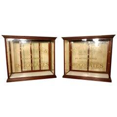 Pair Sweet Shop Display Cabinets, Rowntree's Chocolates