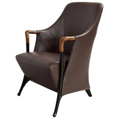 Superb Midcentury Progetti Leather Lounge Chair by Giorgetti, 1980s