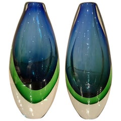 Pair of 20th Century Sommerso Vases