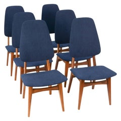 Set of Six Sorheim Bruk's Afromosia High Back Dining Chairs of Norway