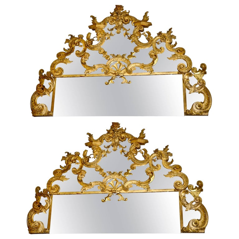 Pair of 18th Century Carved Gilt Wood Overdoor Mirrors For Sale