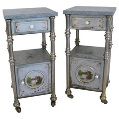 Pair of 19th Century Russian Paint Decorated Metal Stands with Marble Tops