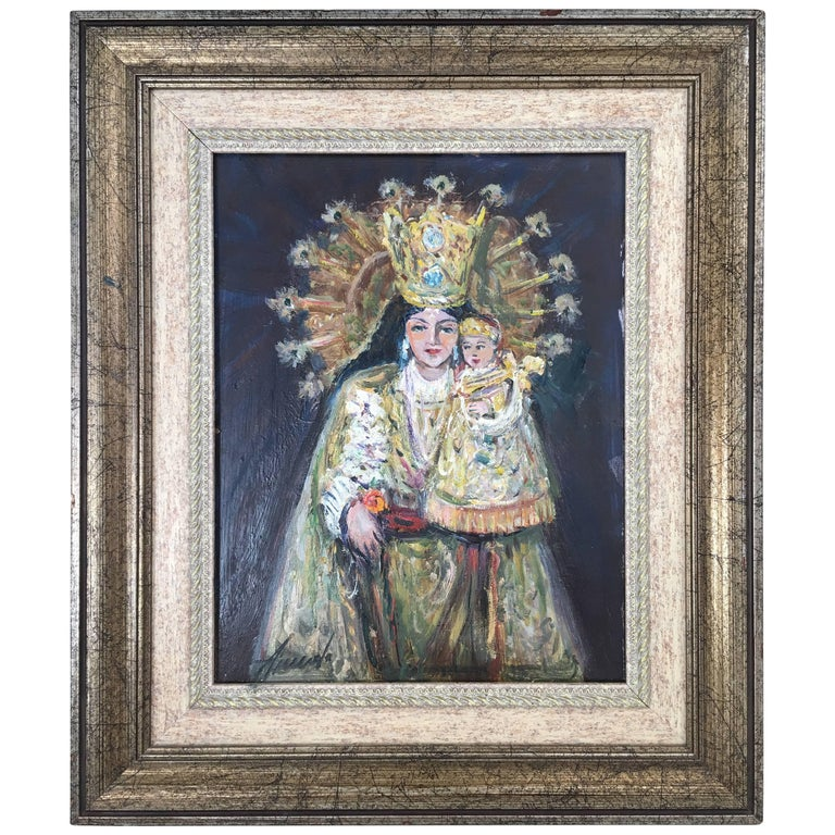 20th Century Oil Painting of Madonna and Child by Arnedo Linares, Spain
