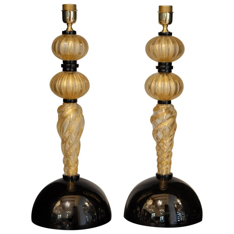 Alberto Dona Pair of Table Lamps, Rigadin Twisted with Gold Leaf, Black Elements