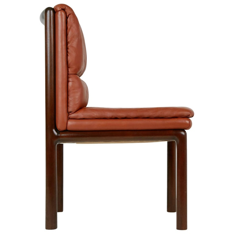 Edward Wormley Leather and Mahogany Chair for Dunbar, circa 1970
