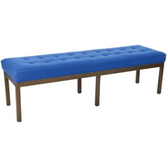Wonderful Tufted Bench after Harvey Porbber in Walnut and Royal Blue Wool