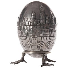 19th Century Russian Silver Egg Model