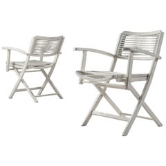 Pair of White Folding Chairs