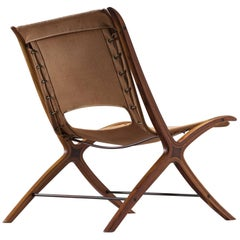 Nielsen and Hvidt X-Chair in Mahogany and Bird's-Eye Wood with Original Canvas