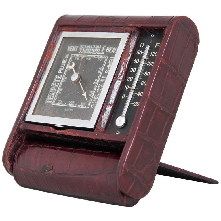 Jaeger‑LeCoultre Art Deco Travelling Barometer and Thermometer, circa 1930 For Sale