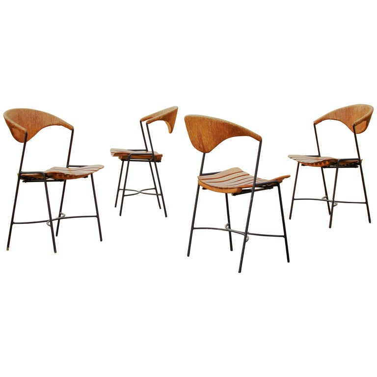 1950s California Modernist Iron and Cord Dining Chairs by Arthur Umanoff, USA