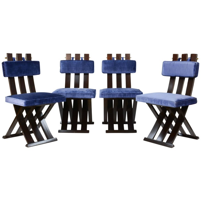 Set of Four Harvey Probber X-Side Chair with Brass Accents and Royal Blue Fabric