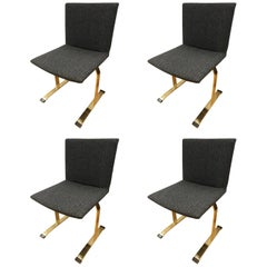 Set of Four Giovanni Offredi Saporiti B&B Italia Brass Dining Chairs Mid-Century