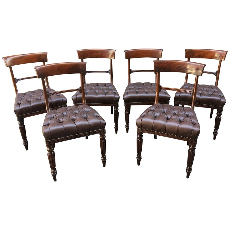 19th Century Set of Six Philadelphia, Baltimore Mahogany Tufted Leather Chairs