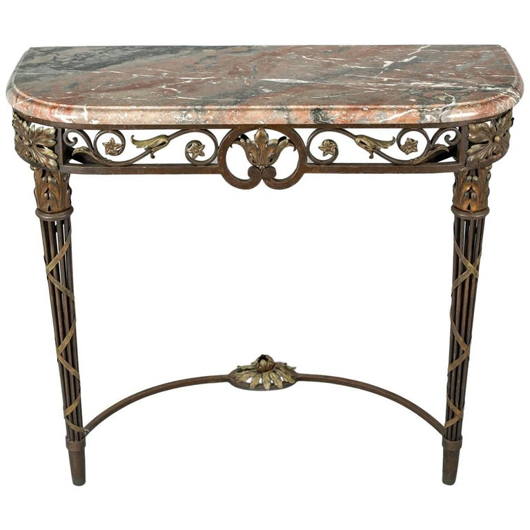 French Wrought Iron And Marble Console Table For