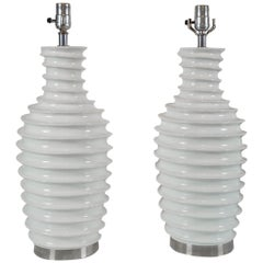 Pair of White Porcelain Lamps with Spiral Motif