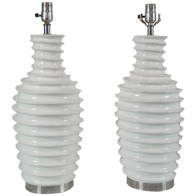 Pair of White Porcelain Lamps with Spiral Motif For Sale