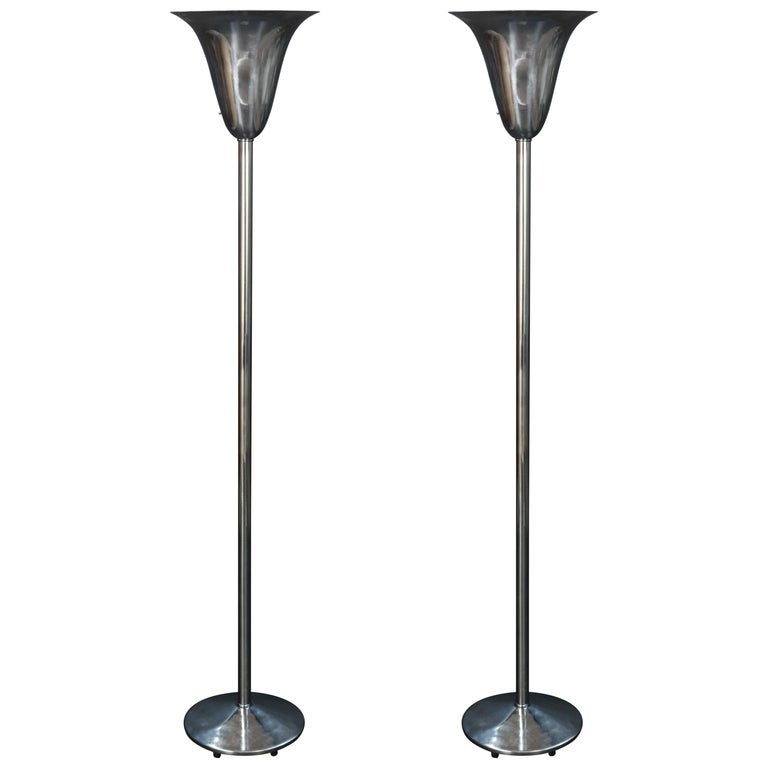 Pair of Polished 1930s Art Deco Fluted Torchieres after Norman Bel Geddes