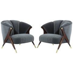 Modernist Karpen of California Lounge Chairs in Granite Velvet