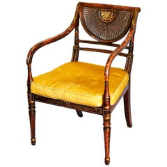 Early 19th Century Parcel-Gilt Caned Armchair, after Angelica Kauffman