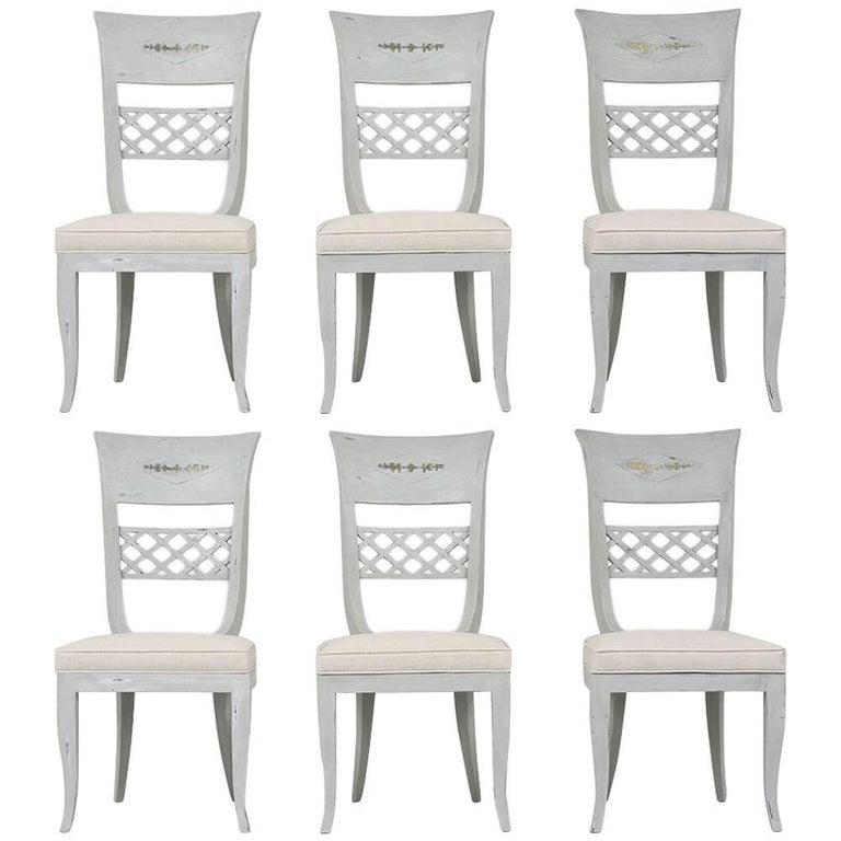Set of Six Hollywood Regency-Style High Back Dining Chairs