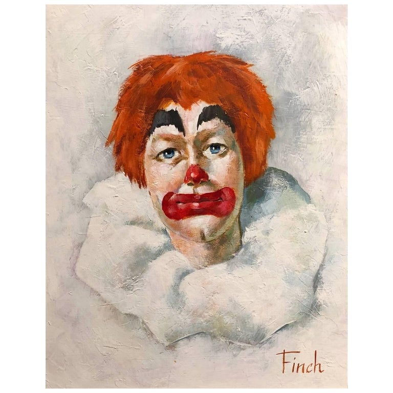 Oil on Canvas Clown Portrait Painting, Signed Finch