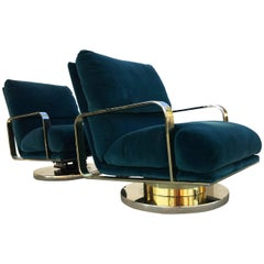 Rare Milo Baughman Brass Base Swivel Lounge Chairs, Pair