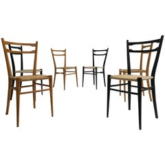 Mixed Set of Six Vintage Gio Ponti Style Chiavari Chairs, Made in Italy, 1960s