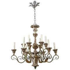 Italian Baroque-Style Twelve-Arm Gilded and Painted Wood Chandelier