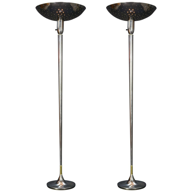 Pair of Grand 1930s Polished Starlite Torchiere with Perforated Diffusers For Sale