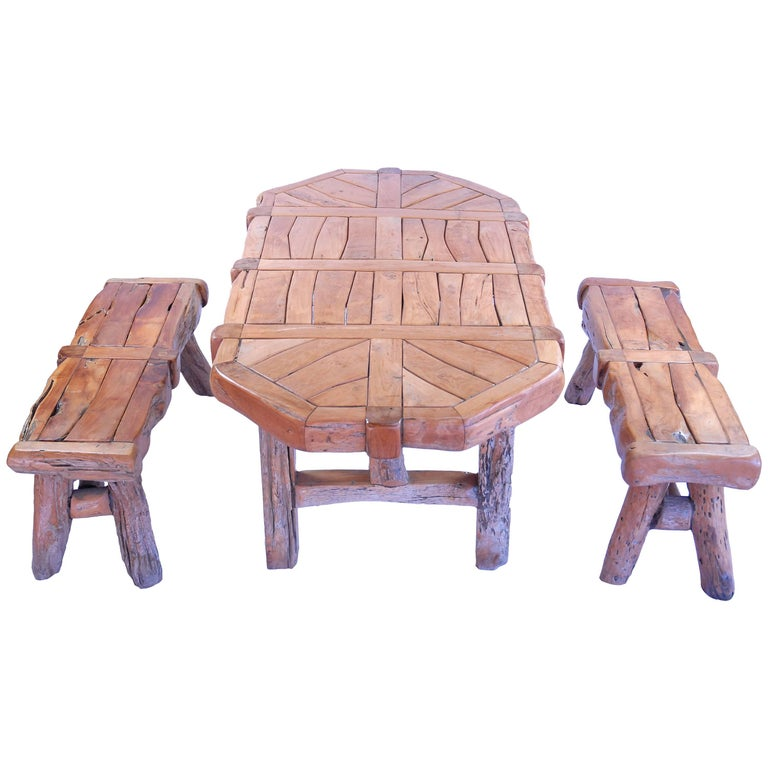 Teak Dining Table Set with Benches