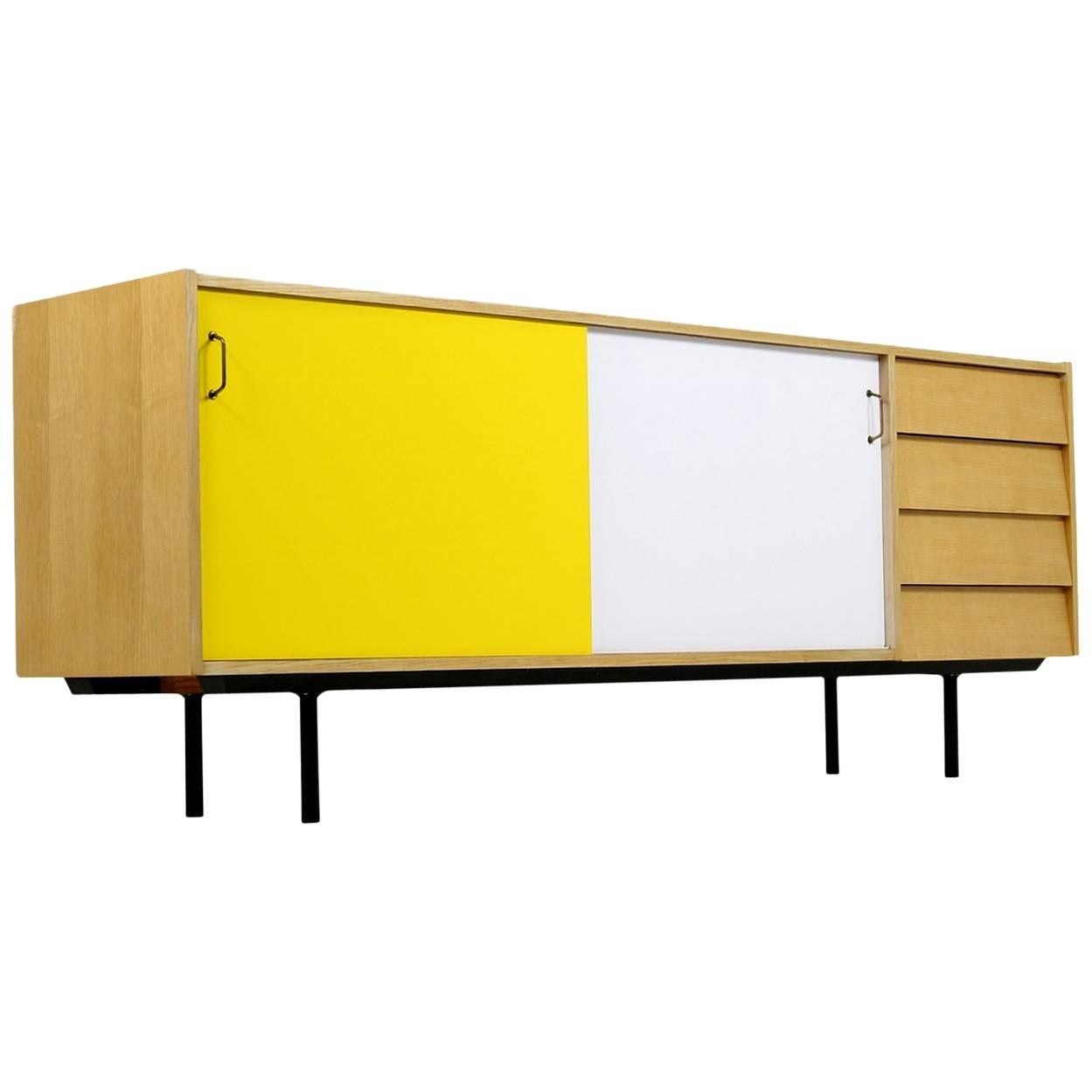 1950s Oak Sideboard Mid-Century Modern Design with Drawers Brass Handles